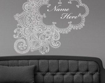 Henna Mehndi Stickers : Henna mehndi paisley doodle pared sticker vinilo mural etiqueta