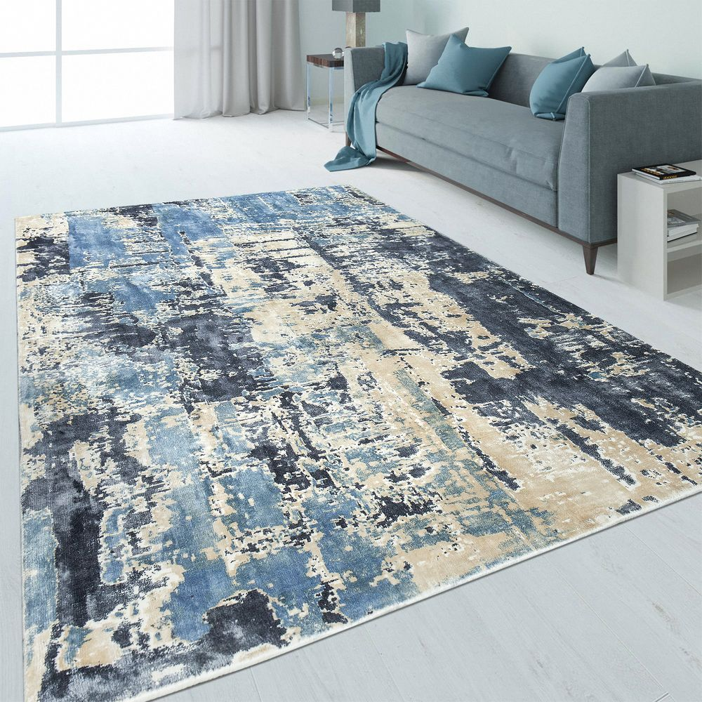 Design Teppich Abstrakt Used Look Blau In 2020 Teppich Design