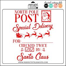 Santa Sack Svg Checked Twice North Pole Post Santa Bag Svg Etsy Santa Sack Christmas Labels Santa Bags