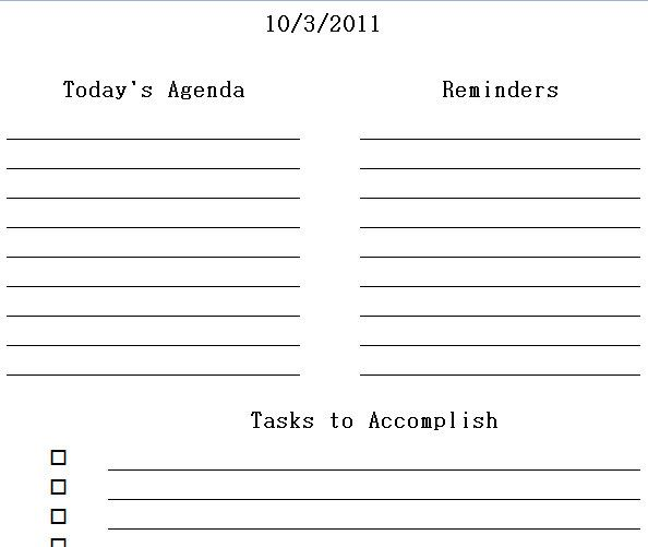 student planner templates – Blank Daily Planner Template