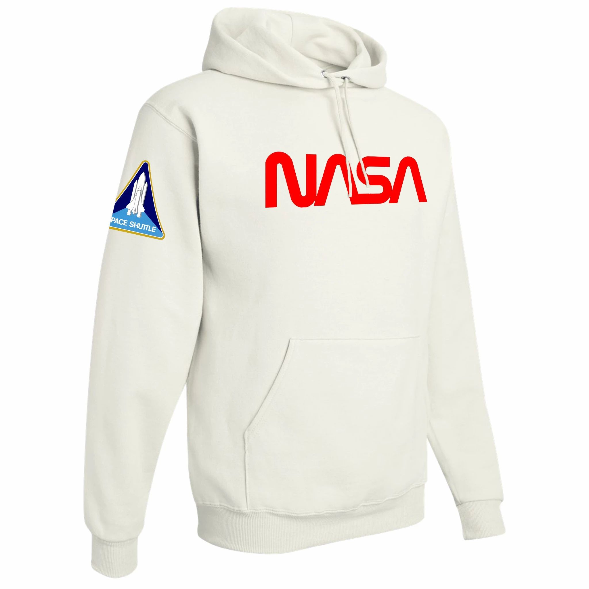 NASA Hoodies with Flags on Sleeves in 2020 White