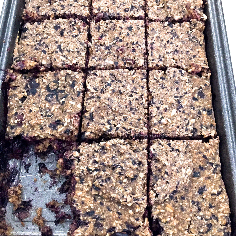 Blueberry gluten free porridge squares gluten free