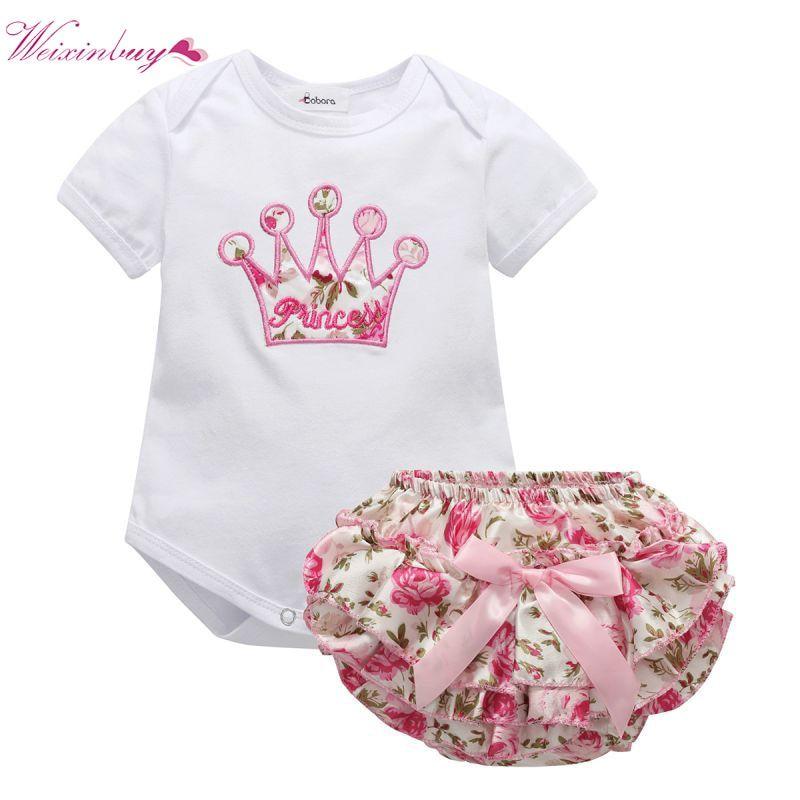 US 2Pcs Newborn Baby Girl Floral Romper Bodysuit Jumpsuit Summer Outfits Clothes
