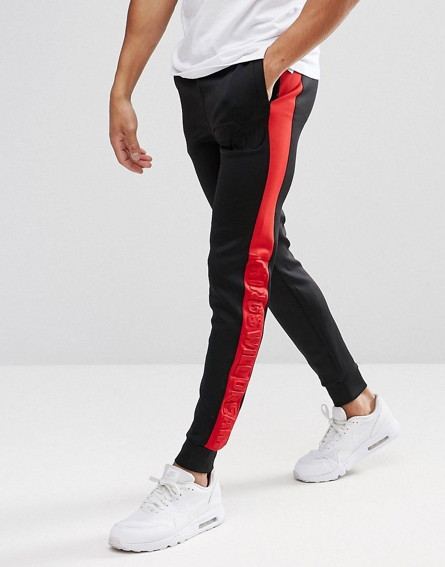 b62753a2f8590b Kings Will Dream Skinny Joggers In Black With Red Stripe | Chinos ...
