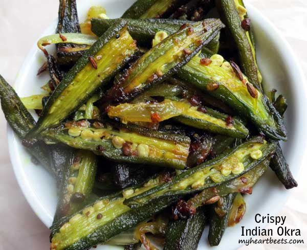 Crispy Indian Okra With Baby Okra Ghee Cumin Seed Onions Chilies Ginger Garlic Ground Turmeric Sal Indian Food Recipes Indian Okra Recipes Okra Recipes