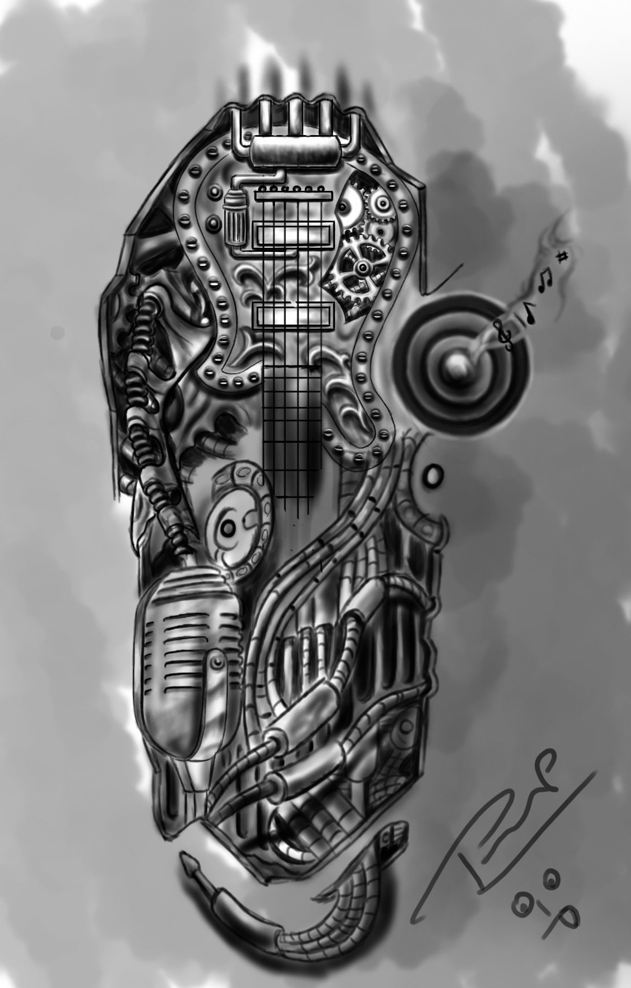 Bio Mechanical Half Sleeve Tattoo Musical Guitar And More Music Tattoo Sleeves Half Sleeve Tattoo Sleeve Tattoos