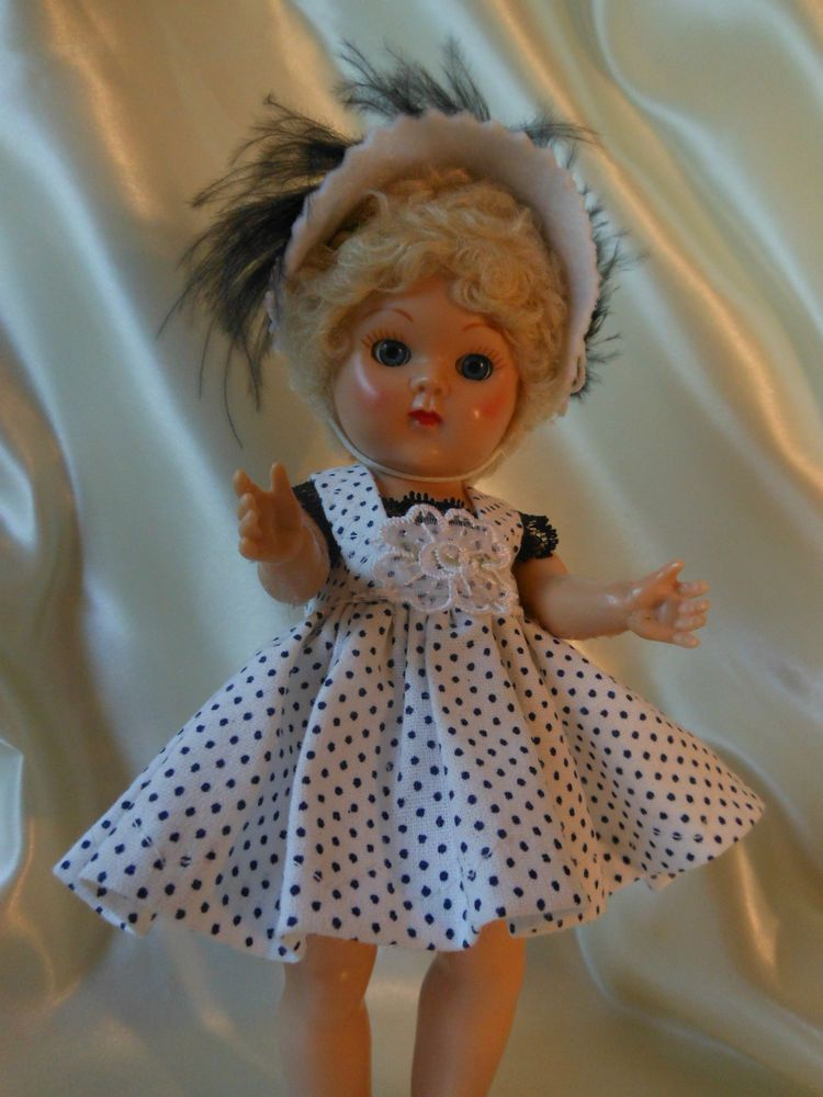 2 pc. pin dot dress with hat,  fits Ginny, Muffie, all 7 to 8 in. dolls.