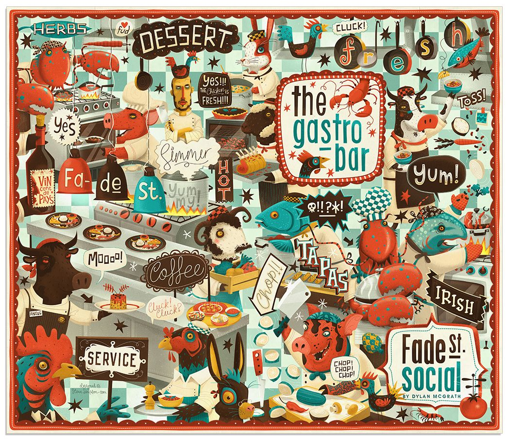 Menu for Restaurant illustrating a busy kitchen where animals prepare the food by @Steve Simpson #illustration #graphicdesign #foodmenu