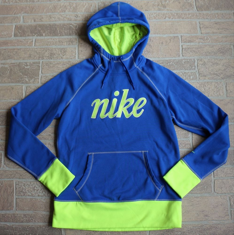 Nike Therma Fit Blue Green Hoodie Womens Medium All Time Fleece Script  624420  Nike  Hoodie 9c313060f5