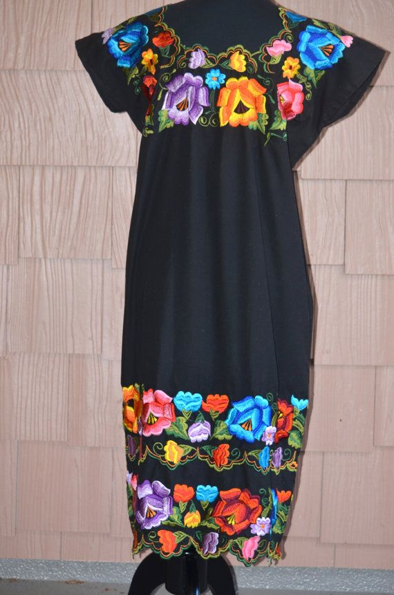 Mexican Embroidered Dress Huipil From Yucatan By