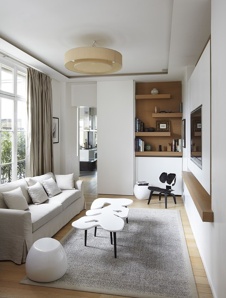 Apartment In France By Bismut Bismut Architectes Homeadore Narrow Living Room Small Apartment Decorating Living Room Small Living Room Decor