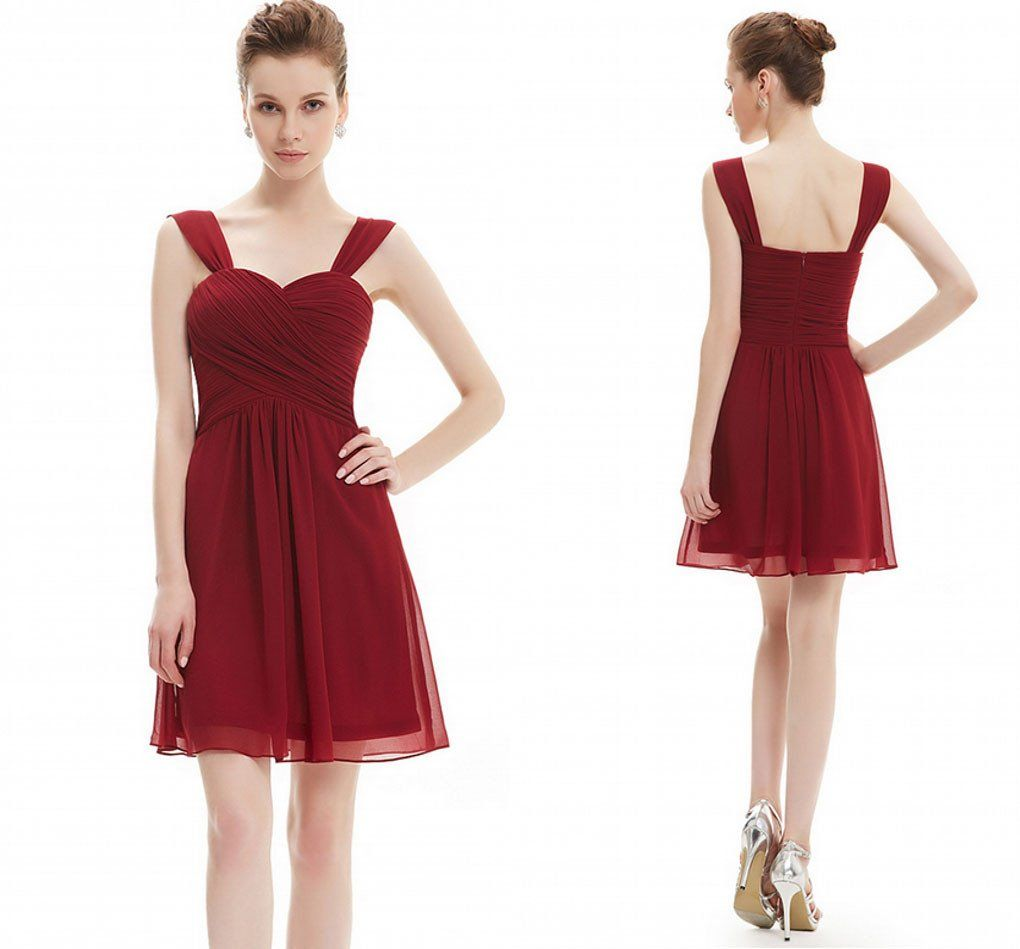 Sweetheart neck burgundy chiffon empire mini short bridesmaid