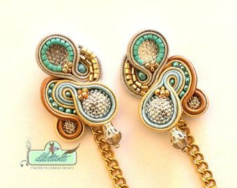 Gold Kette Soutache Ohrringe - Swarovski Kristall-Anweisung Ohrringe - baumeln lange Ohrringe - Unikate Ohrringe - Soutache-Satz