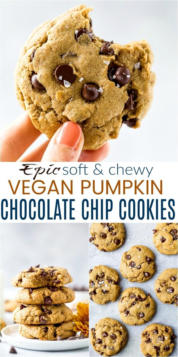 These easy Vegan Pumpkin Chocolate Chip Cookies are so good Soft  chewy cookies loaded with chocolate chips and a hint of pumpkin spice in every bite Hands down the best...