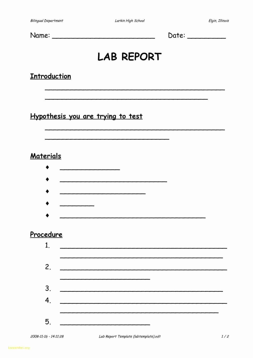High School Lab Report Template