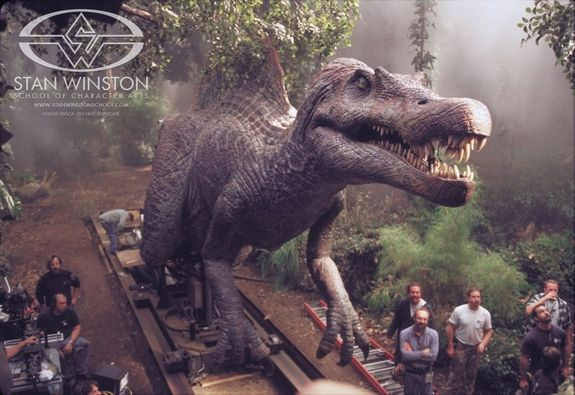 the spinosaurus animatronic puppet on set ready for its close up