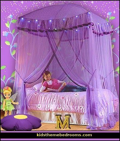 sparkling lights canopy purple bedrooms tinkerbell theme rooms
