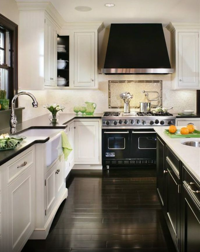 White Cabinets Black Counter Island Dark Floors Kitchen