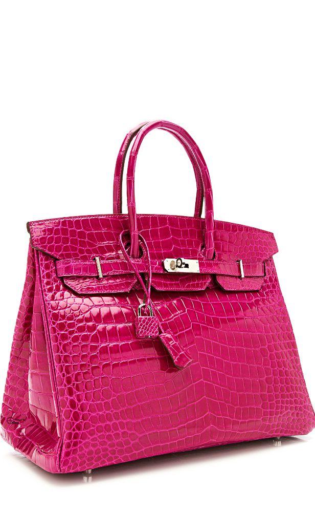 4508f07f1a6 Pink 35cm Hermès Rose Scheherazade Shiny Prosus Crocodile Birkin ...