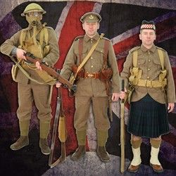Selection of replica British WW1 uniforms showing all the items you