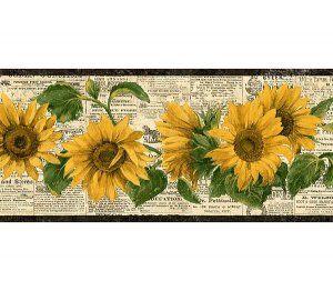 Sunflower Wallpaper Borders for Kitchen | Vintage Retro ...