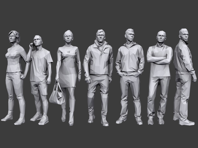 lowpoly people casual pack 3d model low-poly max obj 3ds fbx stl 1