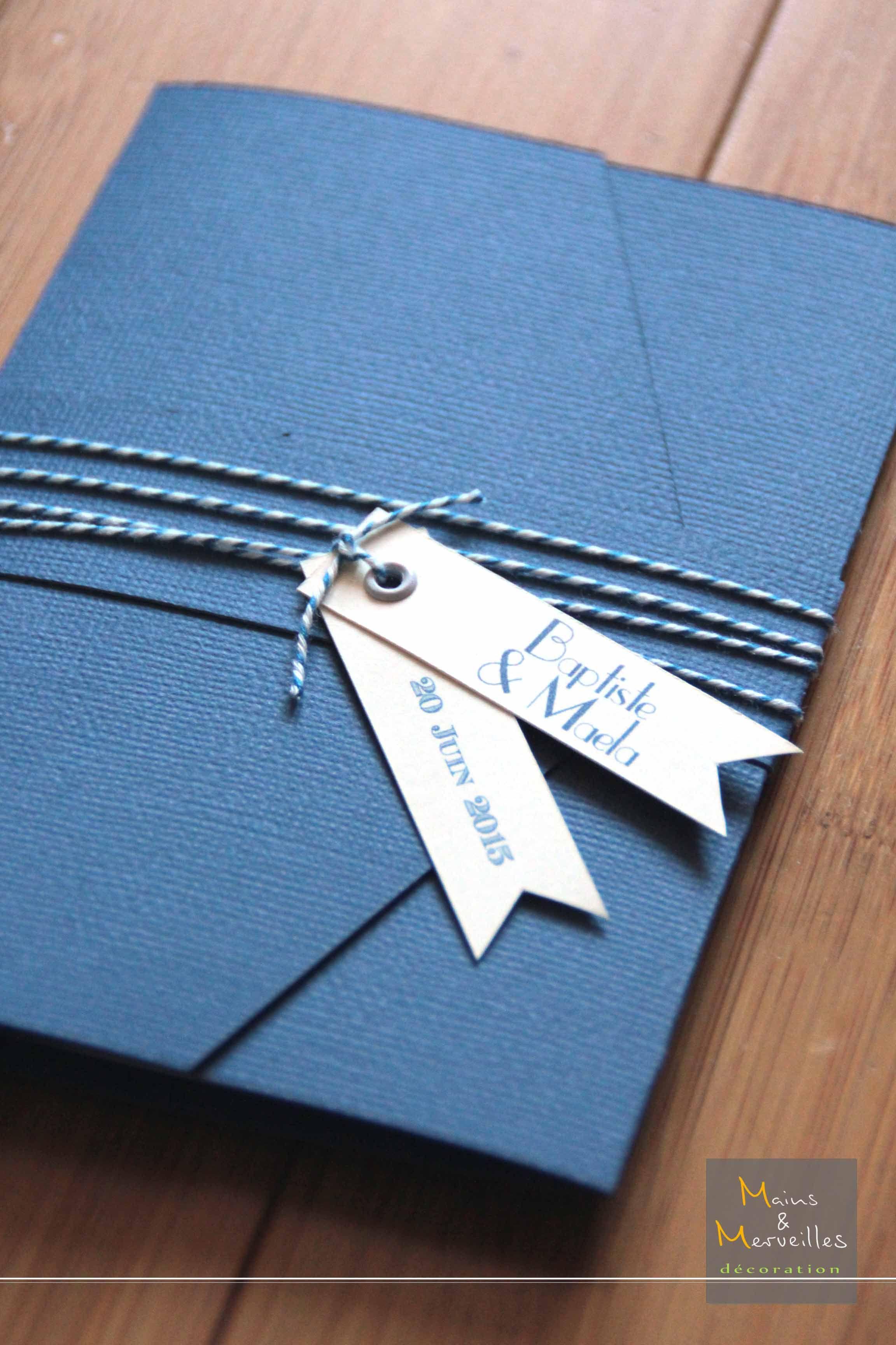 faire part pochette pockart bleu marine et ivoire ficelle. Black Bedroom Furniture Sets. Home Design Ideas