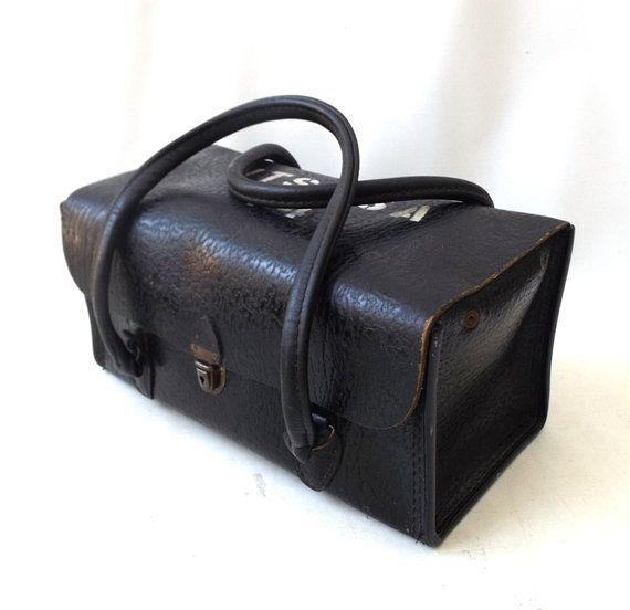 7be47a1f8080 Black leather doctor bag vintage medical tote men womens purse   bag ...