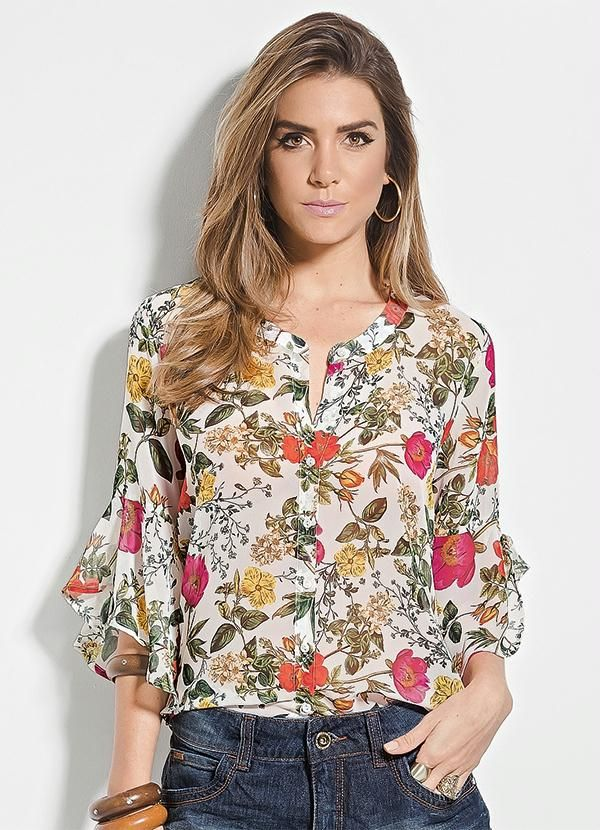 d0538a86f Camisa Colcci Floral Manga 7 8 - Colcci
