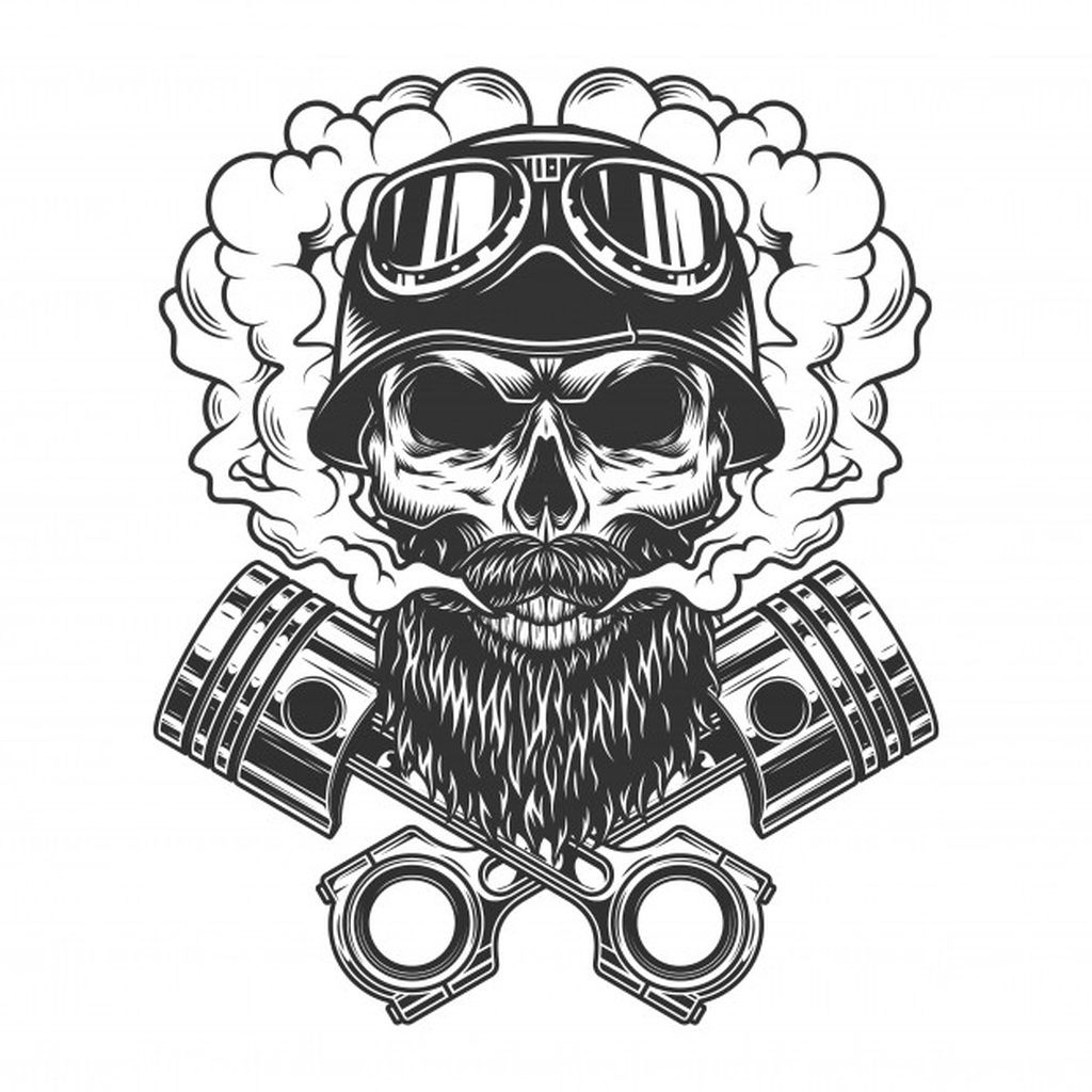 Bearded and mustached biker skull paid, , AD, AFFILIATE