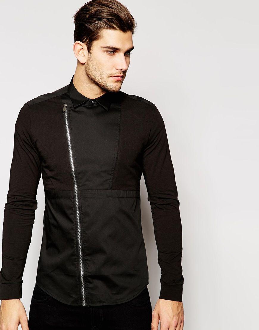 Antony Morato Shirt Asymmetric Zip in Slim Fit
