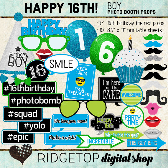 Photo Booth Props Happy 16th Birthday Boy Printable Sheets