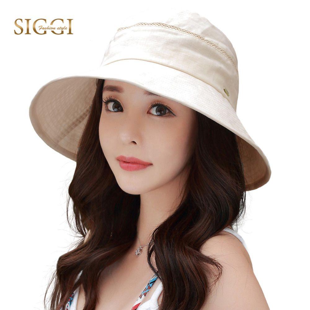 SIGGI Women upf50+ linen cotton summer sun hat bucket uv cap packable  foldable wide brim chin cord fashion 89312 8ebb4285974e