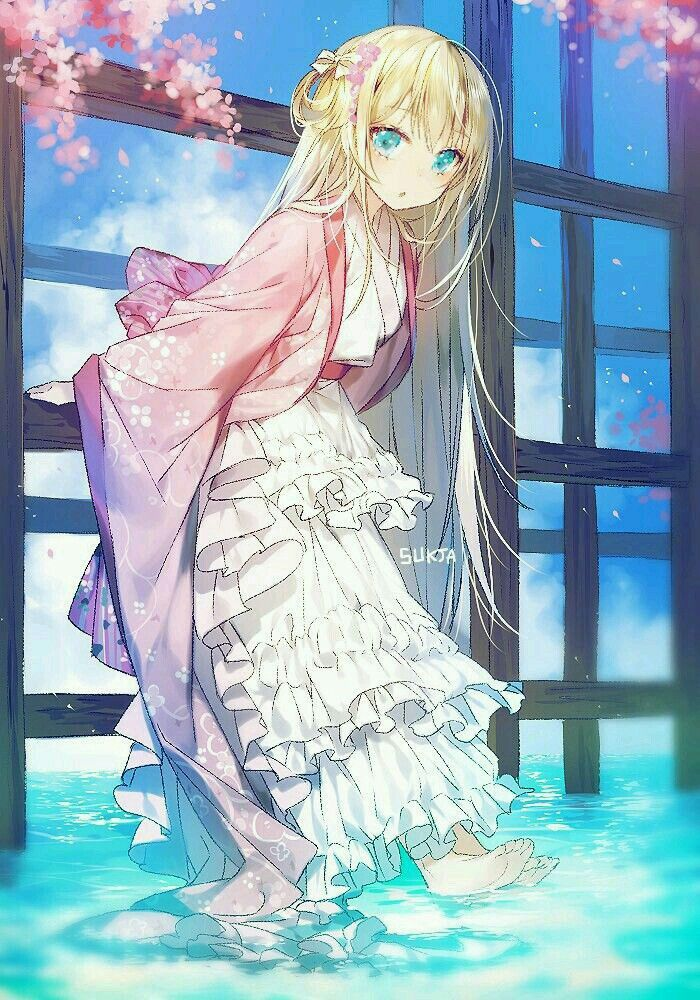 Kawaii Fille Blonde Anime Kimono Animé Et