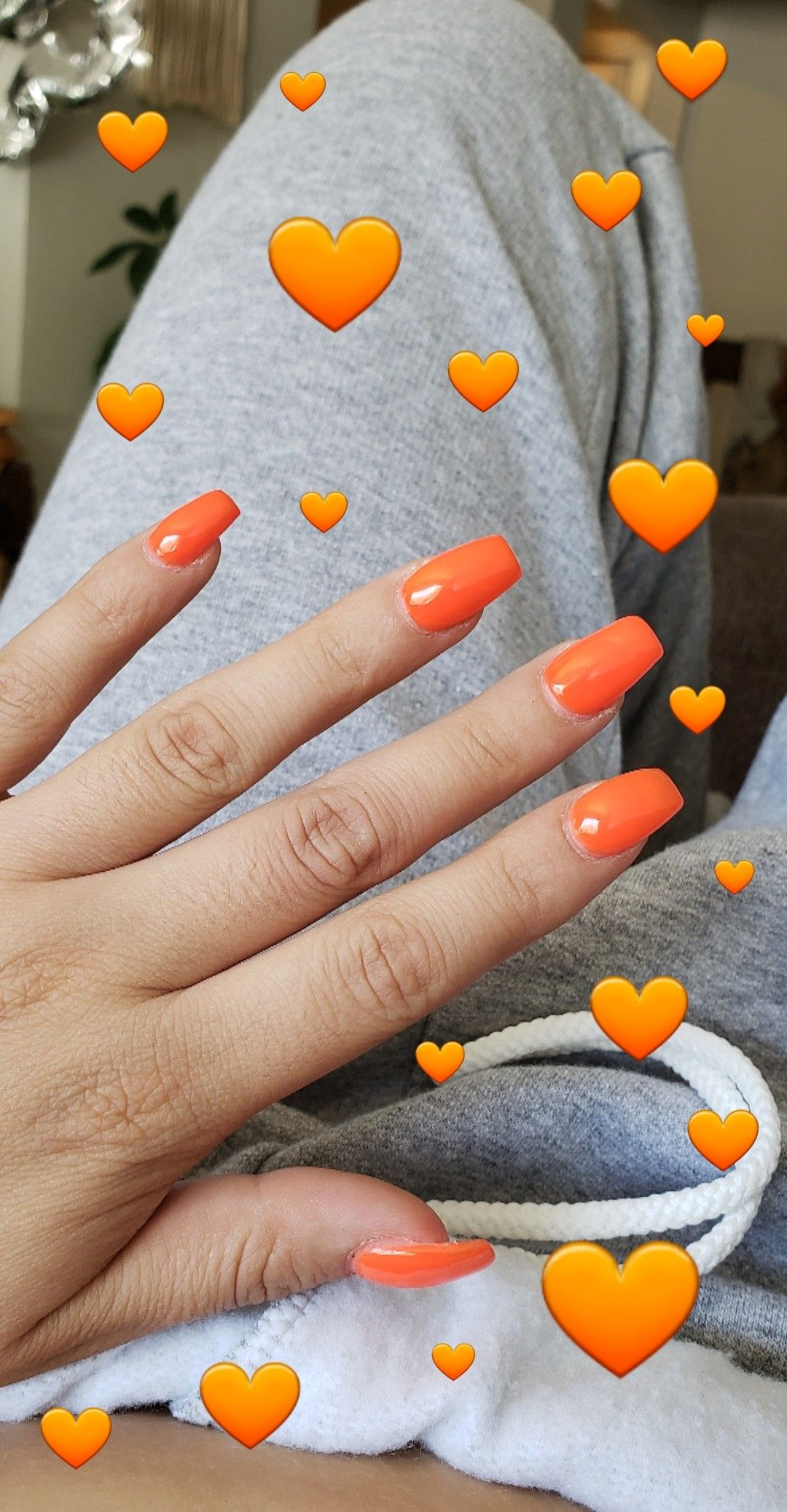 Neon Orange Acrylic Coffin Shaped Nails Neon Acrylic Nails Neon Orange Nails Orange Nails