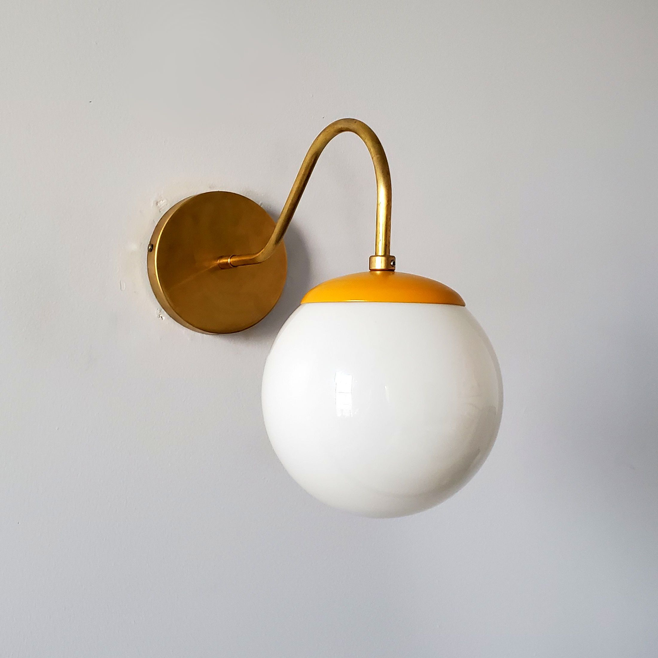 Mustard Brass Mid Century Modern Inspired Wall Sconce With A