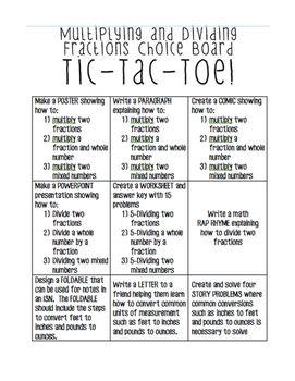 Multiplying  Dividing Decimals TicTacToe Choice Board  Tic Tac