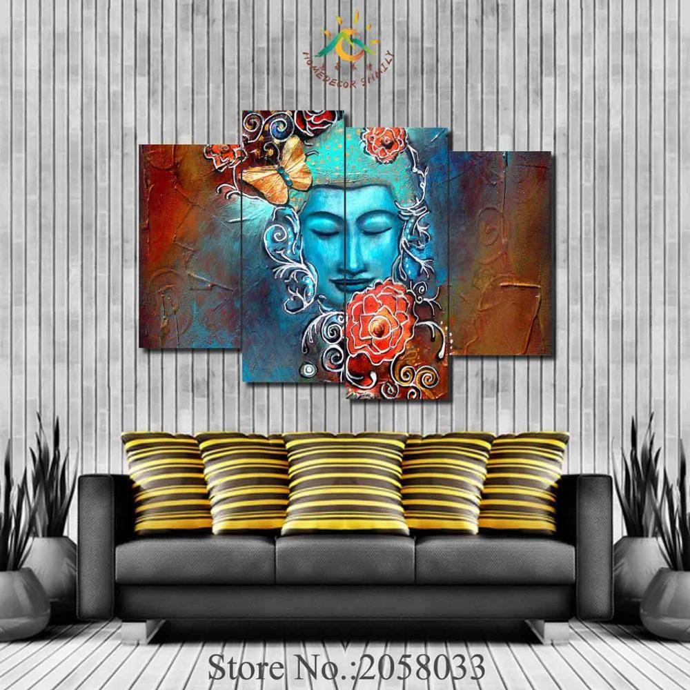 Buddha lotus flower paper poster living wall decor