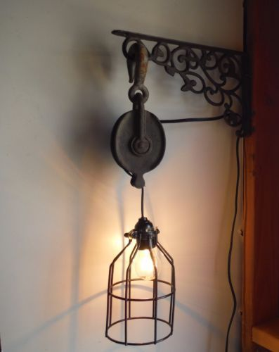 Industrial Steampunk Vintage Metal Pulley Pendant Light On Wall Mount Bracket Pulley Pendant Light Wall Lights Pendant Light