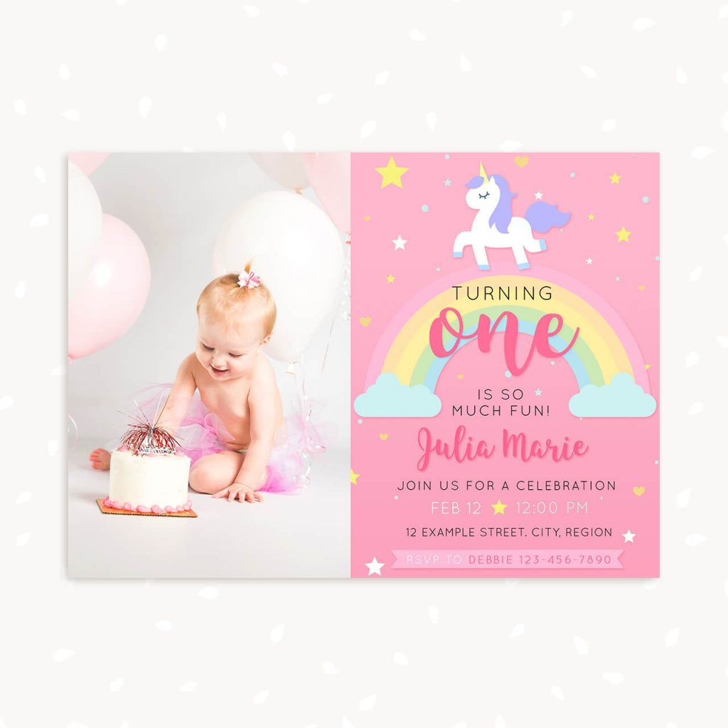Unicorn First Birthday invitation template with photo  Birthday
