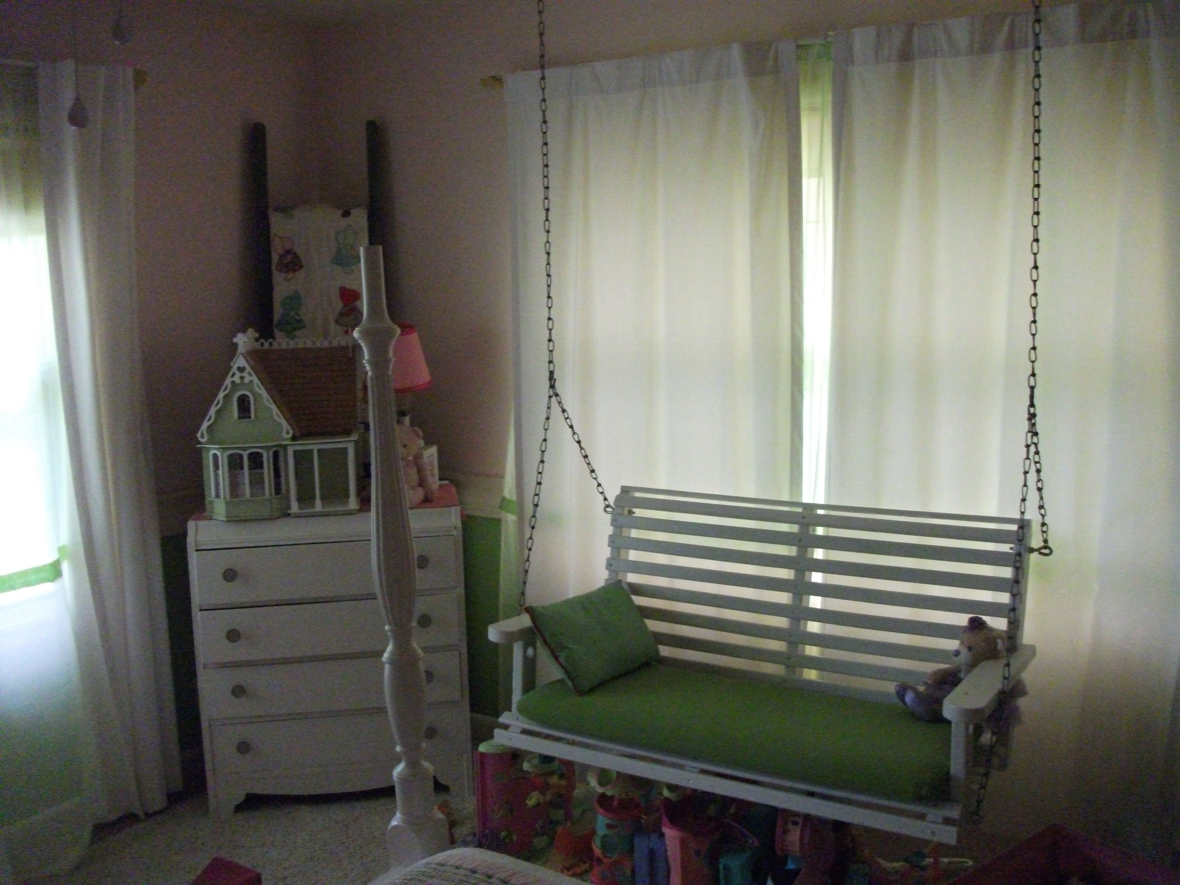 I Hung This Old Porch Swing I Found Cheap At A Fleamarket In My Daughter S Room For A Different Kind Of Reading Area Porch Swing Dream Home Design House Styles