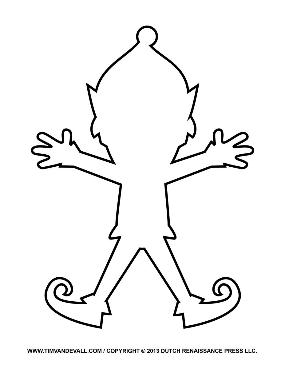 Elf template christmas ornaments simply christmas for Make a coloring page out of a photo