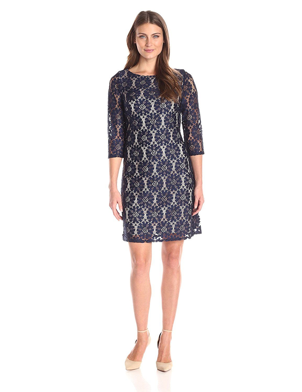 Jessica Howard Women s 1 Piece Sleeve Shift  One piece sleeve circle lace  shift dress with contrast lining 08c76ebef