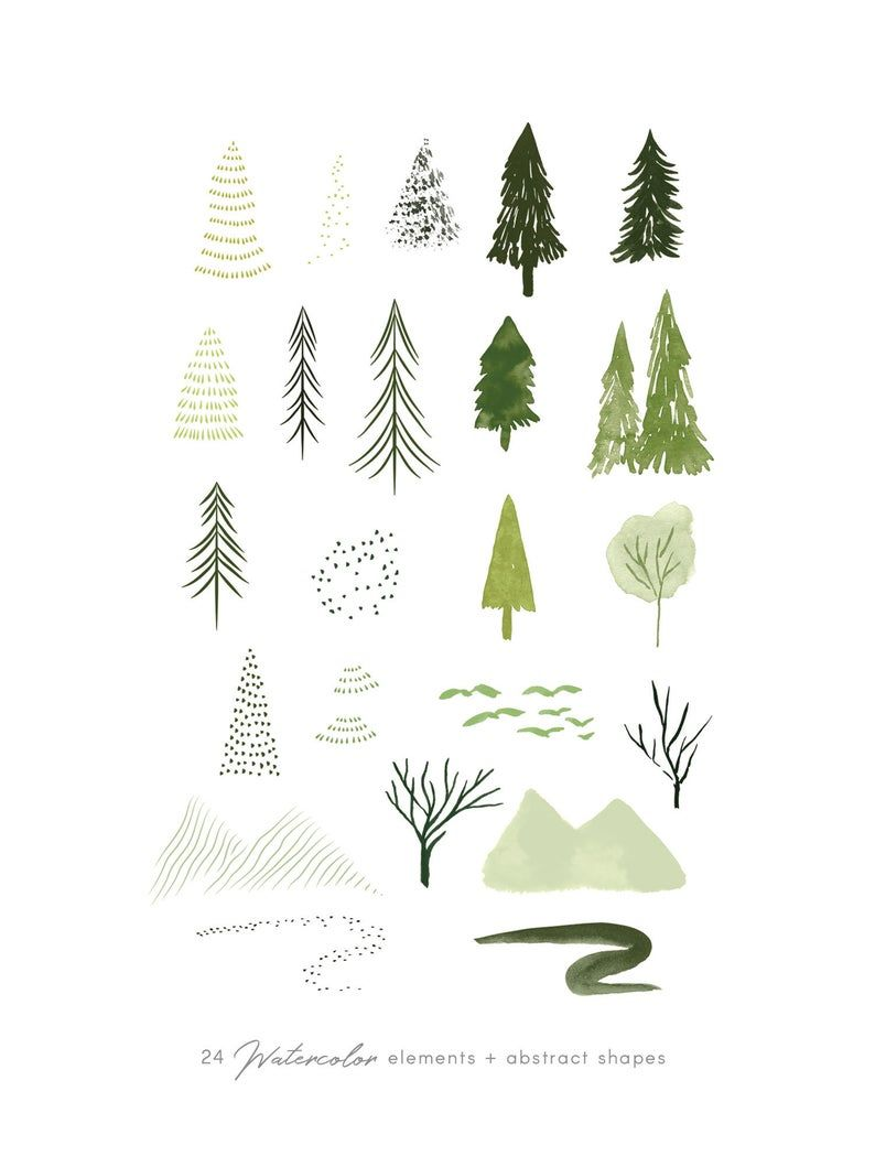 Watercolor forest trees clipart set abstract woodland   Etsy