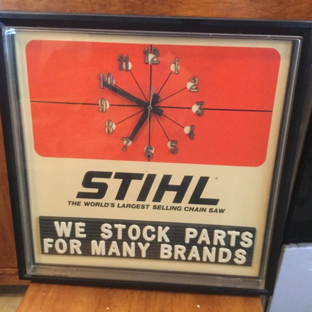 Stihl Chainsaw Lumberjack Hardware Store Man Cave Advertising Red Wall Clock Sign