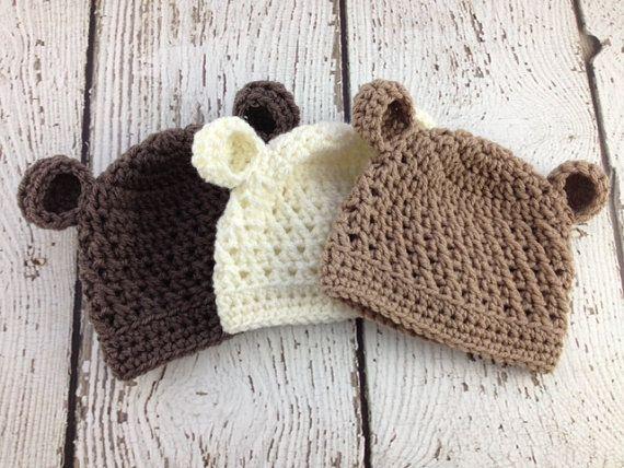 Crochet Baby Bear Beanie Pattern : Baby Boy Hat, Baby Girl Hat, Baby Bear Hat, Crochet Baby ...