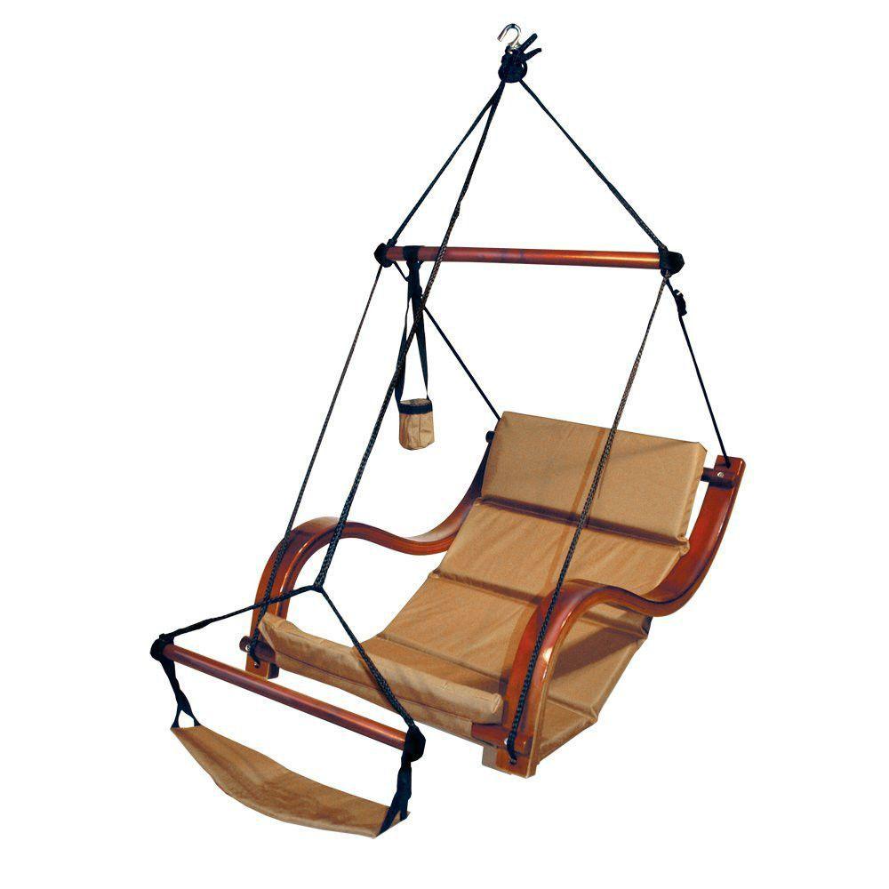 Hammaka Natural Tan Hanging Chair Nami Wood Dowels Footrest Hammock Patio Porch Hanging Lounge Chair Hanging Hammock Chair Hammock Chair