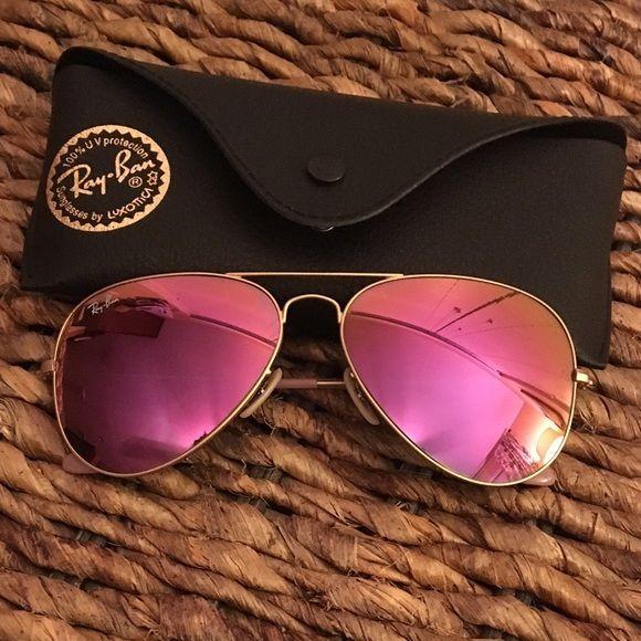 Rayban Aviators Pink And Gold Mirrored Lense Rayban Aviators Only
