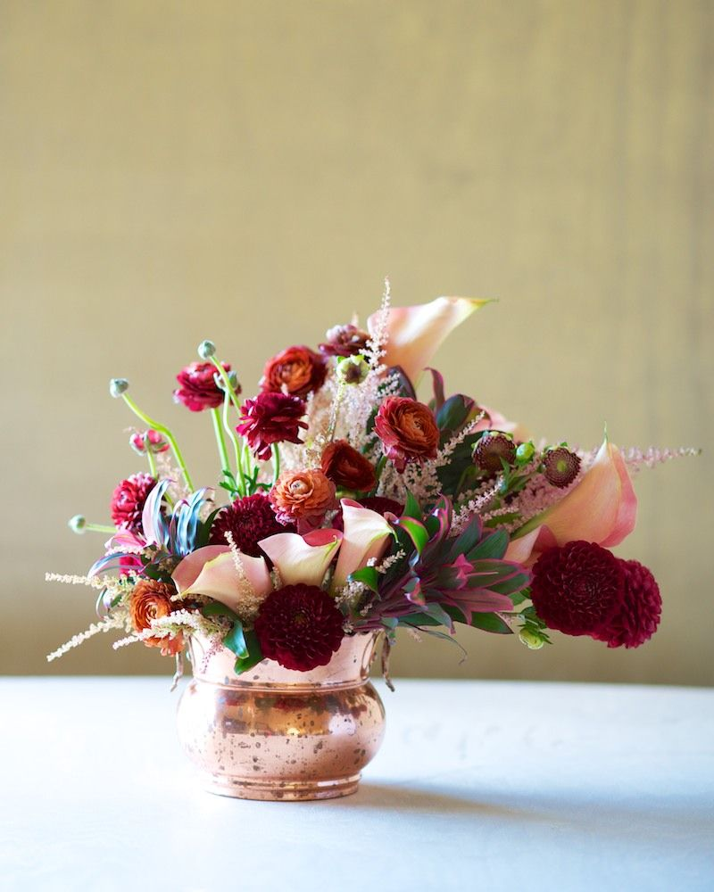 Flowers Dahlia Ranunculus Astilbe Calla Lily Tropical Greens Tulipina Wedding Flower Vase Fall Flower Arrangements Floral Container