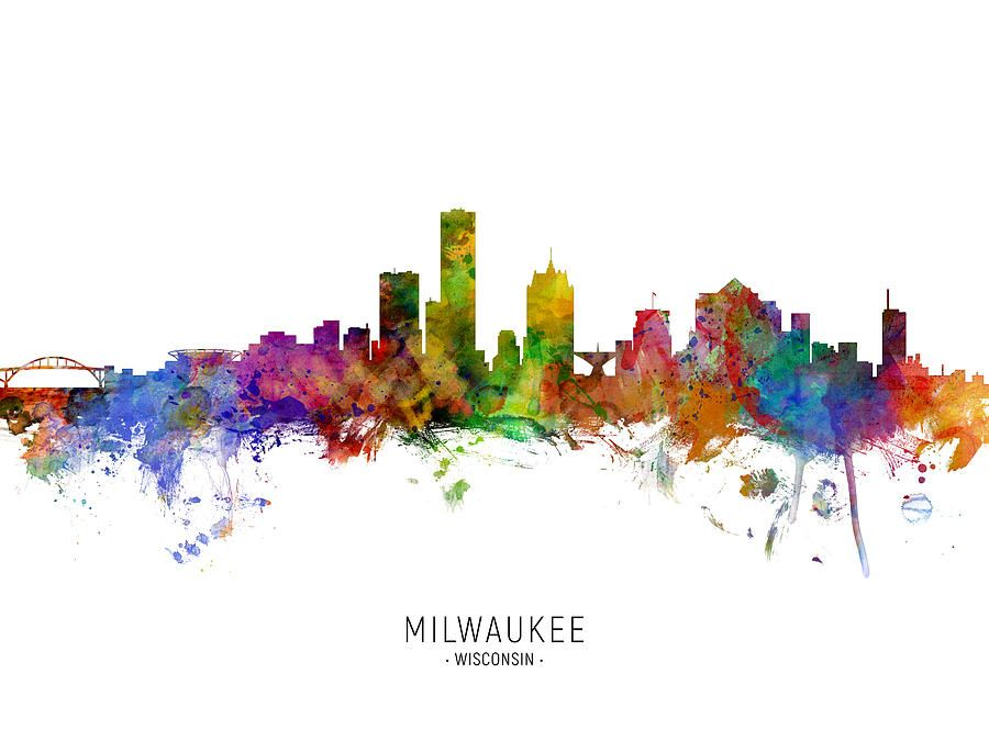 Digital Art - Milwaukee Wisconsin Skyline by Michael Tompsett #affiliate , #Affiliate, #AD, #Milwaukee, #Wisconsin, #Tompsett, #Art